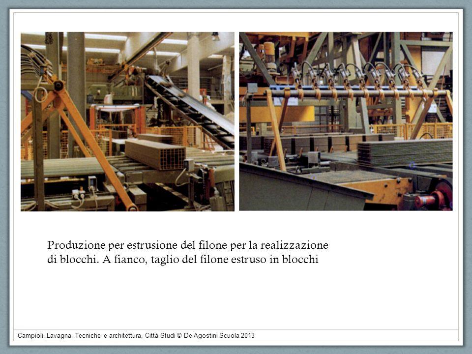 Campioli, Lavagna, Tecniche e architettura, Città Studi © De Agostini Scuola 2013 Produzione per estrusione del filone per la realizzazione di blocchi