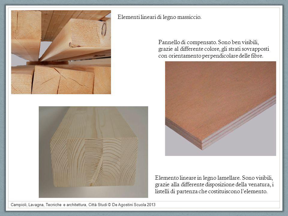 Elementi lineari di legno massiccio. Elemento lineare in legno lamellare. Sono visibili, grazie alla differente disposizione della venatura, i listell