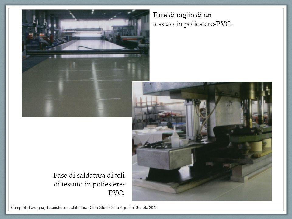 Campioli, Lavagna, Tecniche e architettura, Città Studi © De Agostini Scuola 2013 Fase di taglio di un tessuto in poliestere-PVC. Fase di saldatura di
