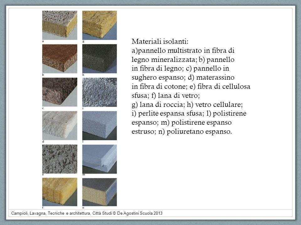 Campioli, Lavagna, Tecniche e architettura, Città Studi © De Agostini Scuola 2013 Materiali isolanti: a)pannello multistrato in fibra di legno mineral