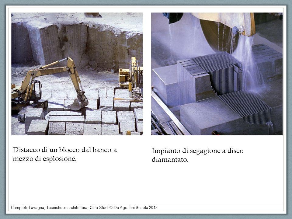 Campioli, Lavagna, Tecniche e architettura, Città Studi © De Agostini Scuola 2013 Distacco di un blocco dal banco a mezzo di esplosione. Impianto di s