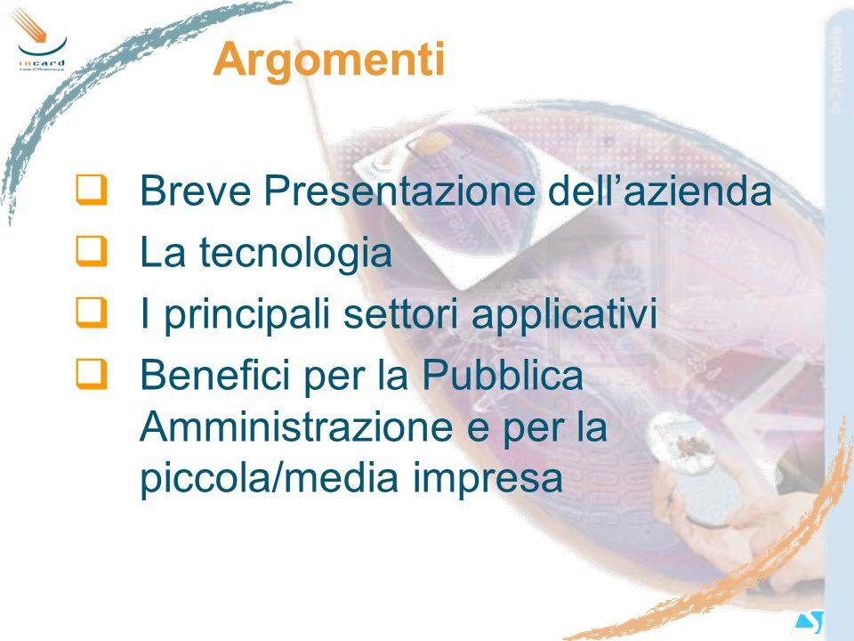 Argomenti Breve Presentazione dellazienda La tecnologia I principali settori applicativi Benefici per la Pubblica Amministrazione e per la piccola/med