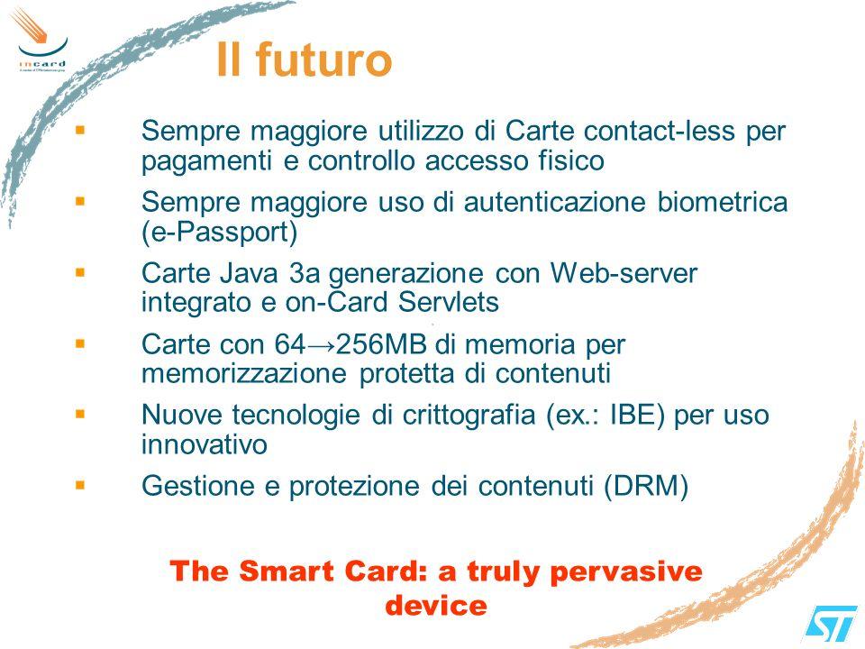 Il futuro Sempre maggiore utilizzo di Carte contact-less per pagamenti e controllo accesso fisico Sempre maggiore uso di autenticazione biometrica (e-