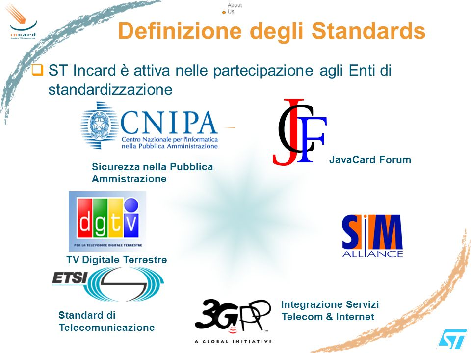Definizione degli Standards ST Incard è attiva nelle partecipazione agli Enti di standardizzazione About Us About Us Sicurezza nella Pubblica Ammistra