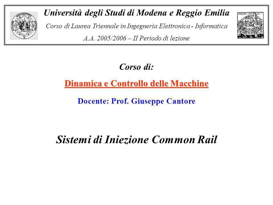 Corso di: Dinamica e Controllo delle Macchine Università degli Studi di Modena e Reggio Emilia Corso di Laurea Triennale in Ingegneria Elettronica - I