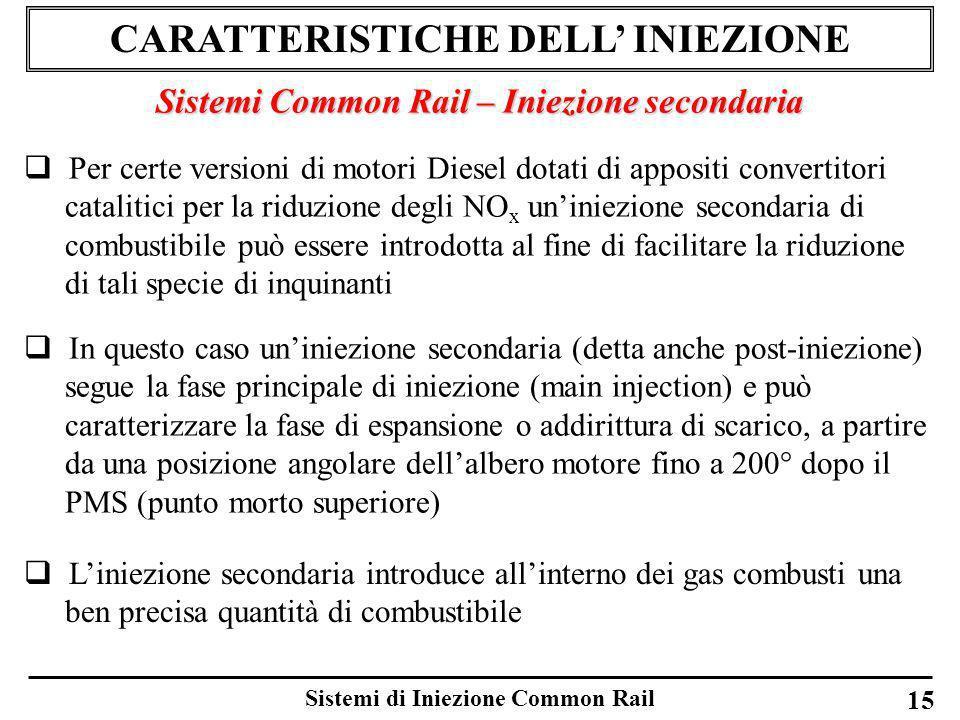 Sistemi di Iniezione Common Rail 15 CARATTERISTICHE DELL INIEZIONE Sistemi Common Rail – Iniezione secondaria Per certe versioni di motori Diesel dota