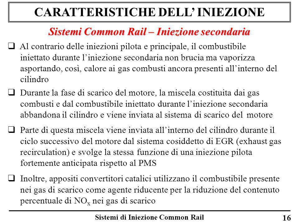 Sistemi di Iniezione Common Rail 16 CARATTERISTICHE DELL INIEZIONE Sistemi Common Rail – Iniezione secondaria Al contrario delle iniezioni pilota e pr