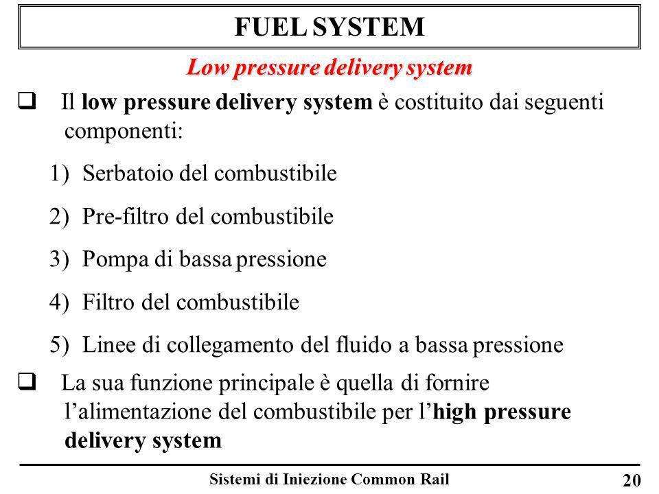 Sistemi di Iniezione Common Rail 20 FUEL SYSTEM Low pressure delivery system Il low pressure delivery system è costituito dai seguenti componenti: 1)S