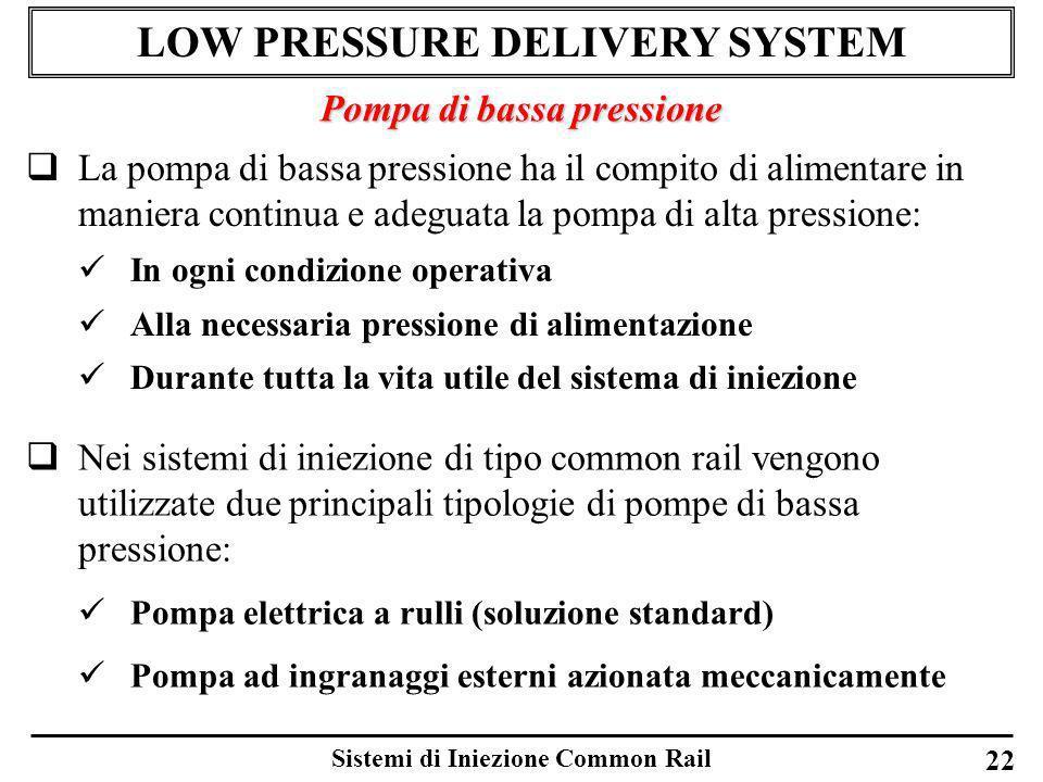 Sistemi di Iniezione Common Rail 22 LOW PRESSURE DELIVERY SYSTEM Pompa di bassa pressione La pompa di bassa pressione ha il compito di alimentare in m