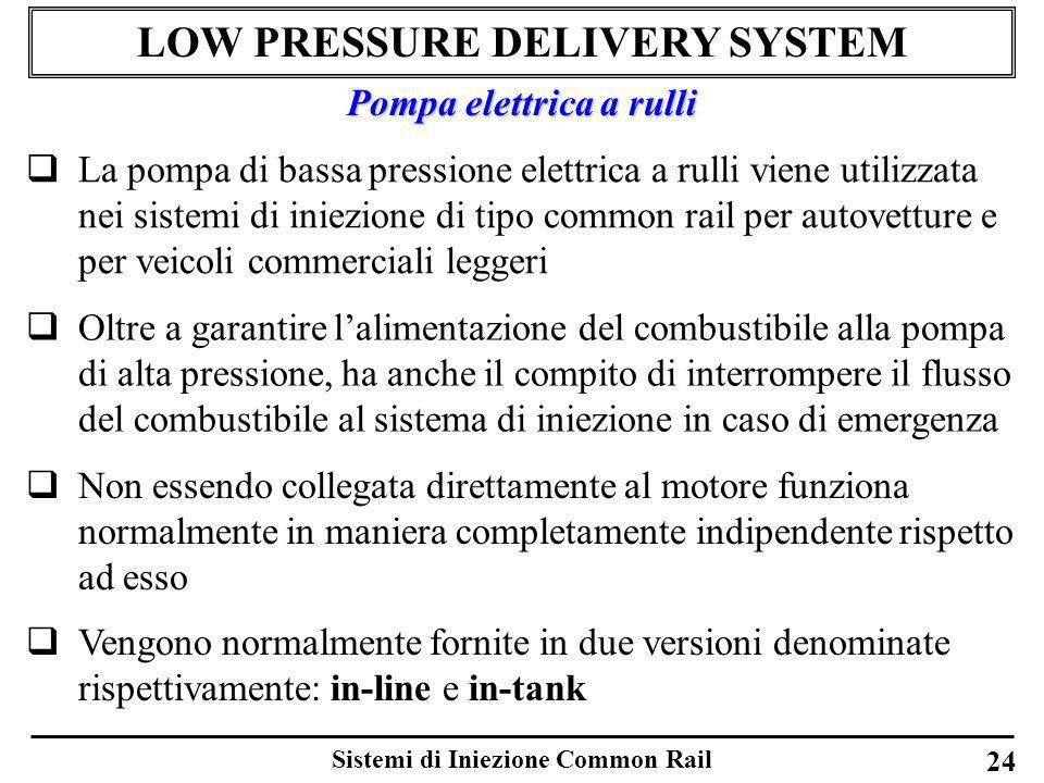 Sistemi di Iniezione Common Rail 24 LOW PRESSURE DELIVERY SYSTEM La pompa di bassa pressione elettrica a rulli viene utilizzata nei sistemi di iniezio