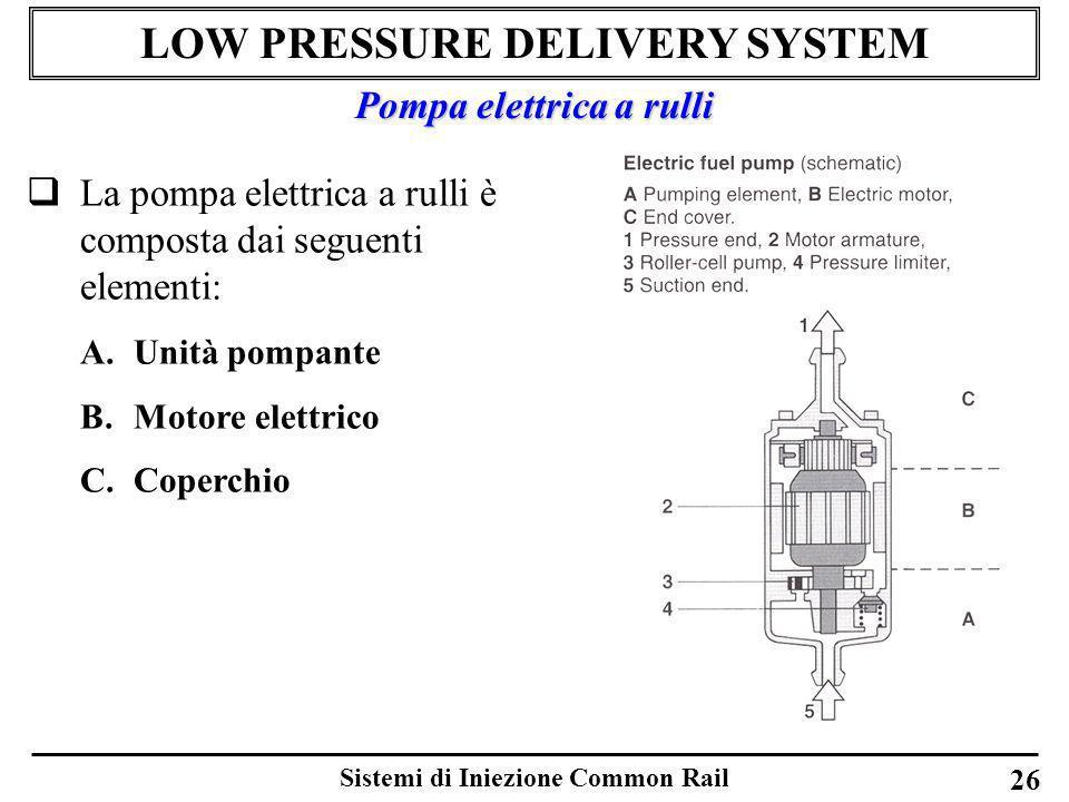 Sistemi di Iniezione Common Rail 26 LOW PRESSURE DELIVERY SYSTEM La pompa elettrica a rulli è composta dai seguenti elementi: A.Unità pompante B.Motor