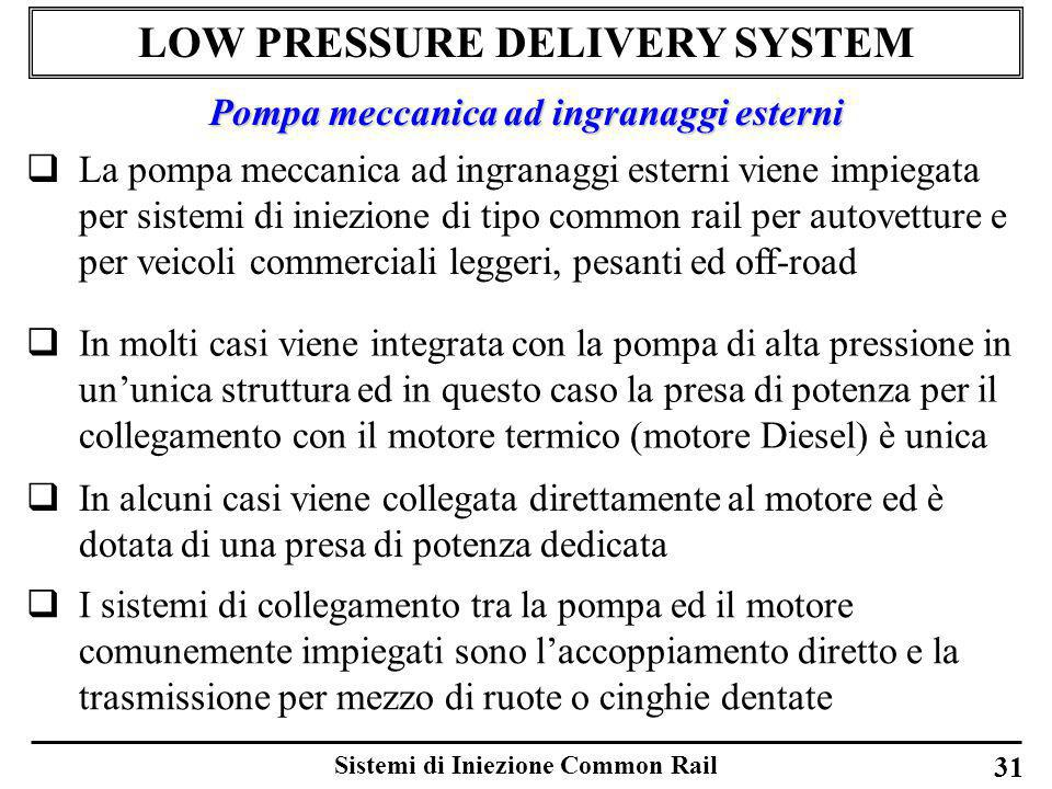 Sistemi di Iniezione Common Rail 31 LOW PRESSURE DELIVERY SYSTEM La pompa meccanica ad ingranaggi esterni viene impiegata per sistemi di iniezione di