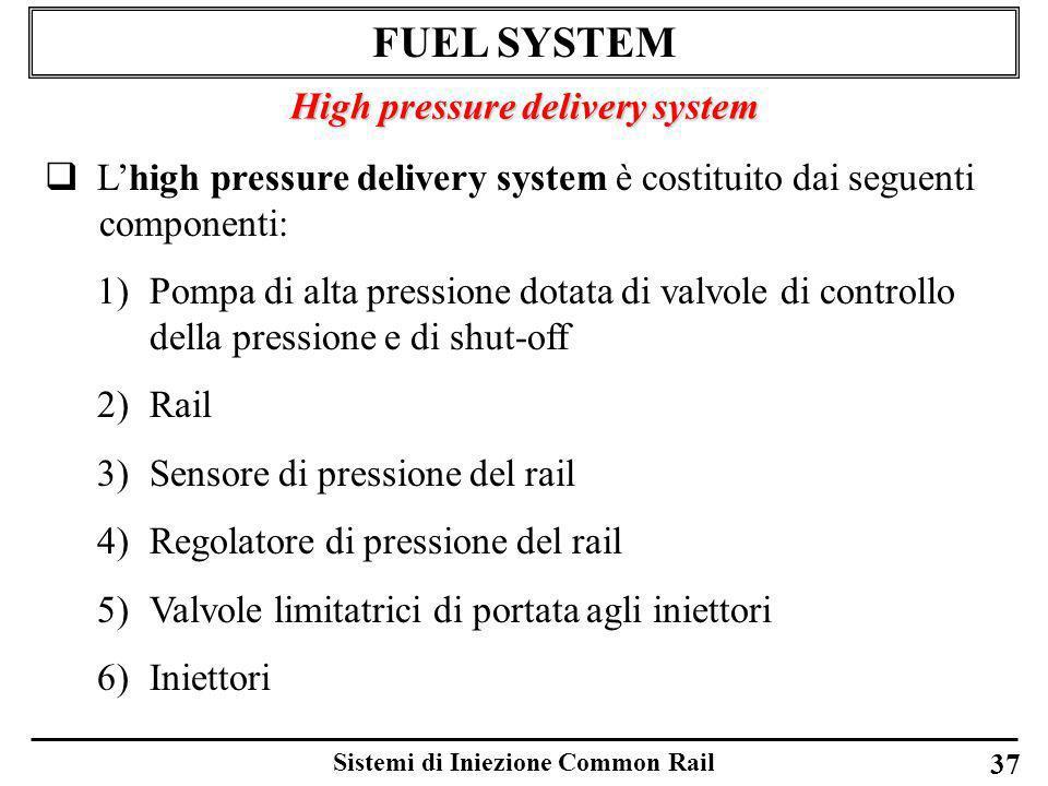 Sistemi di Iniezione Common Rail 37 FUEL SYSTEM High pressure delivery system Lhigh pressure delivery system è costituito dai seguenti componenti: 1)P