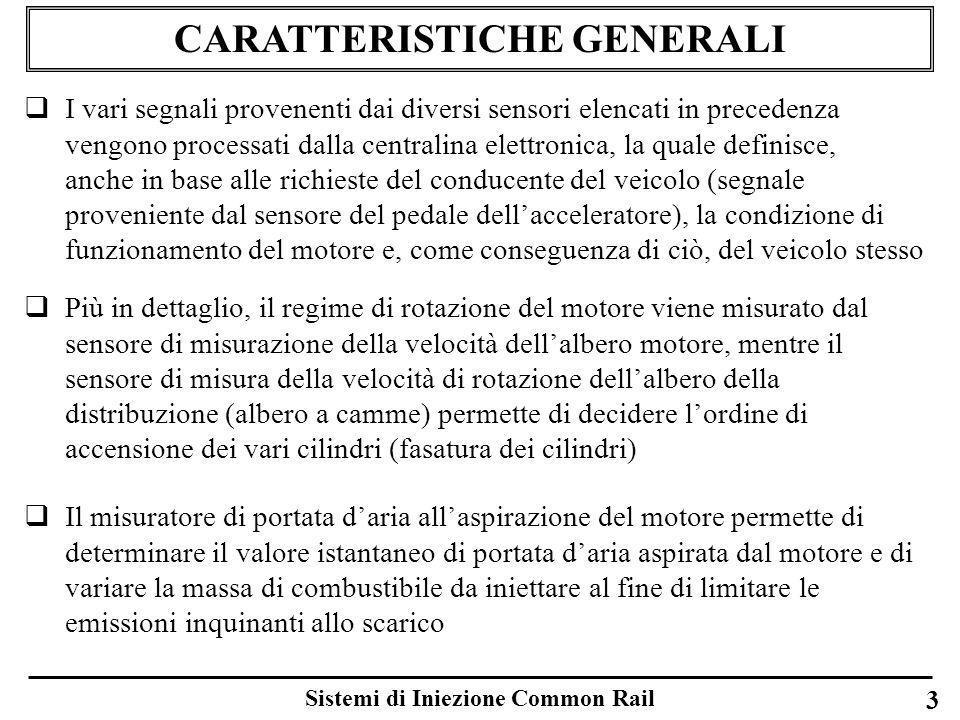 Sistemi di Iniezione Common Rail 3 CARATTERISTICHE GENERALI I vari segnali provenenti dai diversi sensori elencati in precedenza vengono processati da
