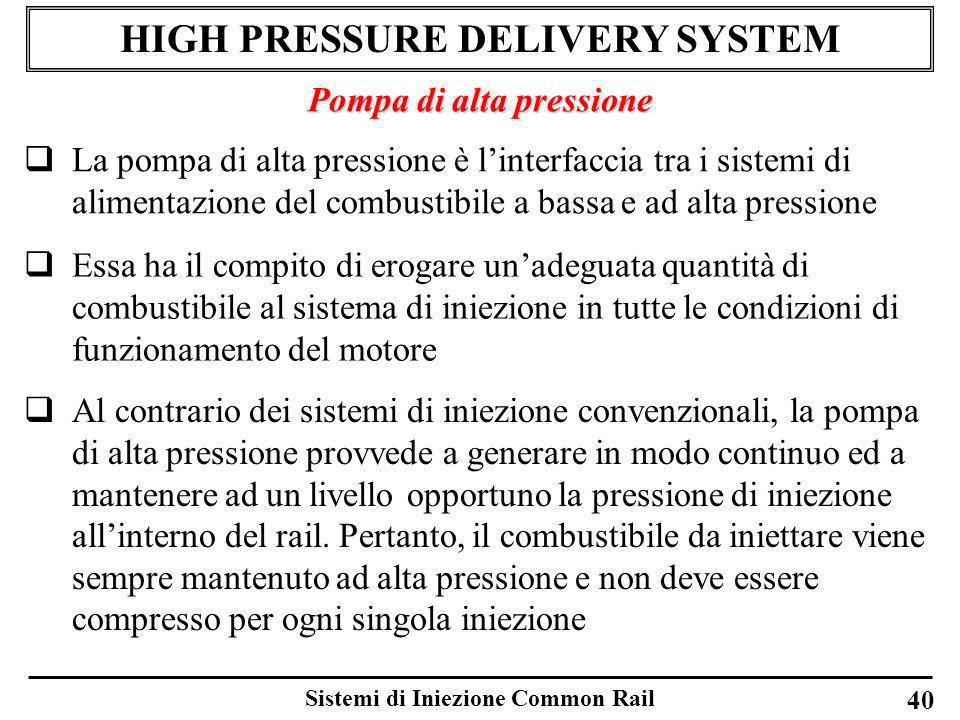 Sistemi di Iniezione Common Rail 40 HIGH PRESSURE DELIVERY SYSTEM Pompa di alta pressione La pompa di alta pressione è linterfaccia tra i sistemi di a
