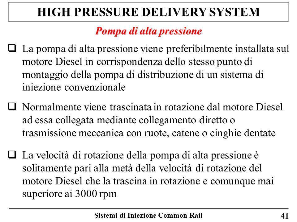Sistemi di Iniezione Common Rail 41 HIGH PRESSURE DELIVERY SYSTEM Pompa di alta pressione La pompa di alta pressione viene preferibilmente installata