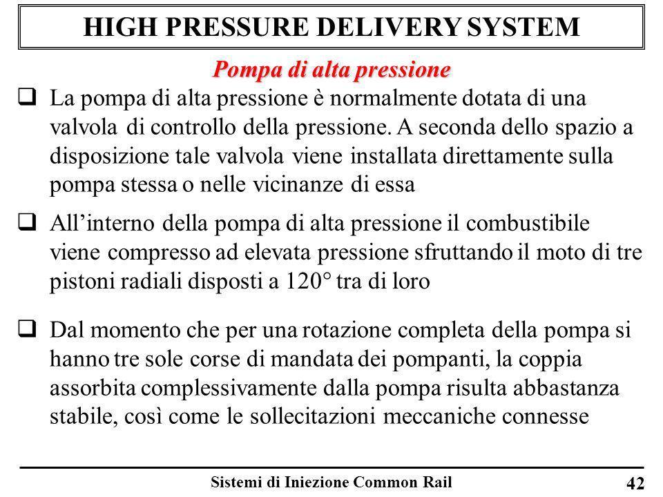 Sistemi di Iniezione Common Rail 42 HIGH PRESSURE DELIVERY SYSTEM Pompa di alta pressione La pompa di alta pressione è normalmente dotata di una valvo