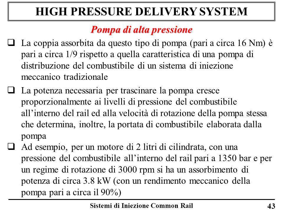 Sistemi di Iniezione Common Rail 43 HIGH PRESSURE DELIVERY SYSTEM Pompa di alta pressione La coppia assorbita da questo tipo di pompa (pari a circa 16