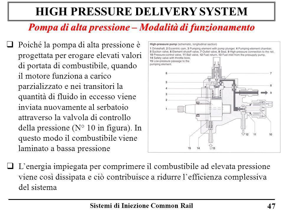 Sistemi di Iniezione Common Rail 47 HIGH PRESSURE DELIVERY SYSTEM Pompa di alta pressione – Modalità di funzionamento Poiché la pompa di alta pression
