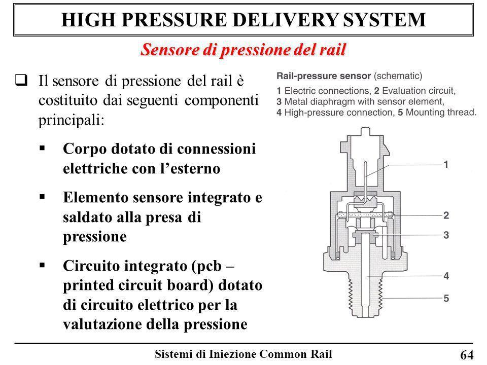 Sistemi di Iniezione Common Rail 64 HIGH PRESSURE DELIVERY SYSTEM Sensore di pressione del rail Il sensore di pressione del rail è costituito dai segu