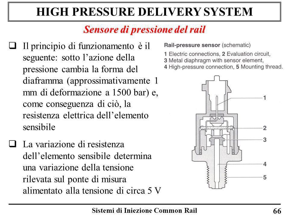 Sistemi di Iniezione Common Rail 66 HIGH PRESSURE DELIVERY SYSTEM Sensore di pressione del rail Il principio di funzionamento è il seguente: sotto laz