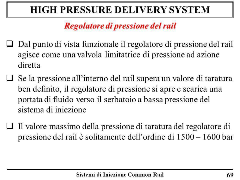 Sistemi di Iniezione Common Rail 69 HIGH PRESSURE DELIVERY SYSTEM Regolatore di pressione del rail Dal punto di vista funzionale il regolatore di pres