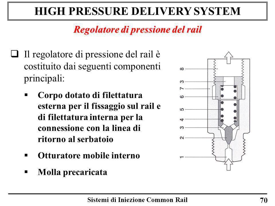 Sistemi di Iniezione Common Rail 70 HIGH PRESSURE DELIVERY SYSTEM Regolatore di pressione del rail Il regolatore di pressione del rail è costituito da