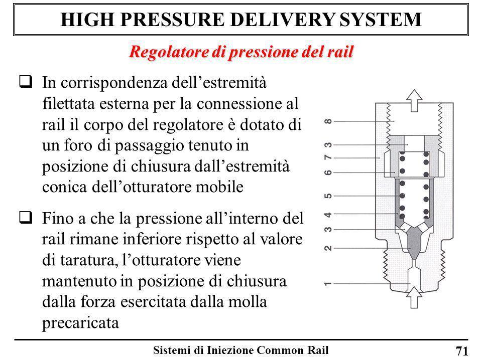 Sistemi di Iniezione Common Rail 71 HIGH PRESSURE DELIVERY SYSTEM Regolatore di pressione del rail In corrispondenza dellestremità filettata esterna p