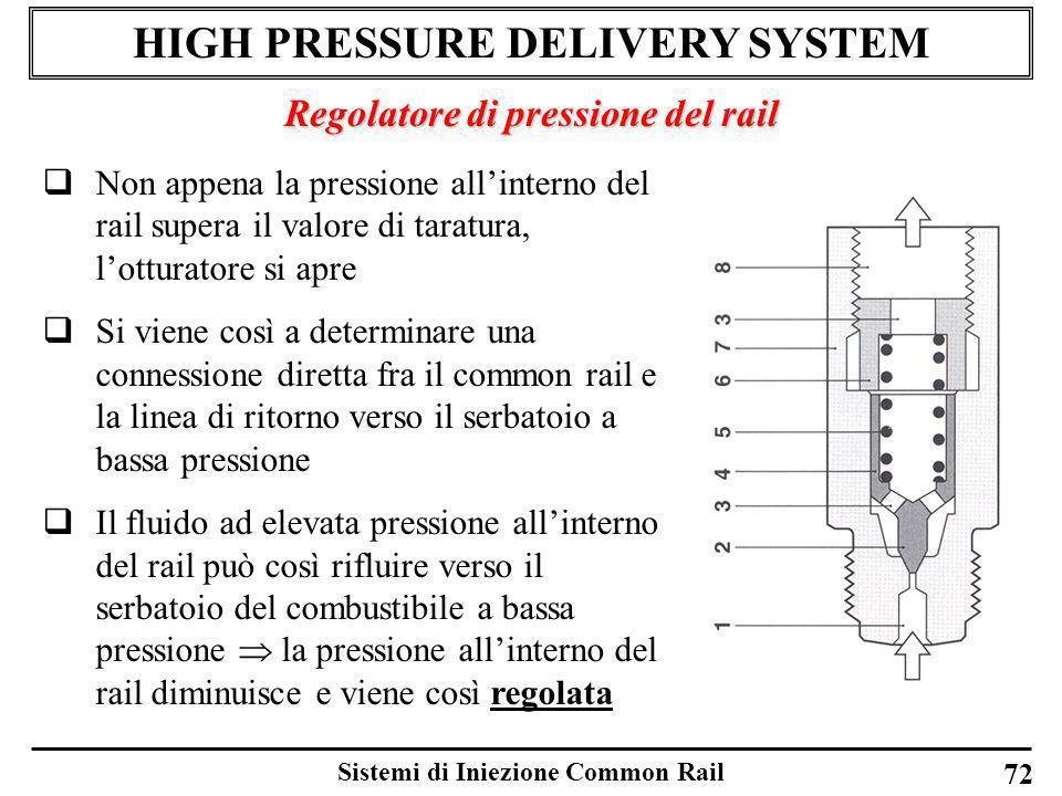 Sistemi di Iniezione Common Rail 72 HIGH PRESSURE DELIVERY SYSTEM Regolatore di pressione del rail Non appena la pressione allinterno del rail supera