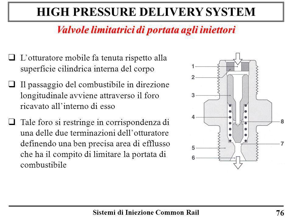 Sistemi di Iniezione Common Rail 76 HIGH PRESSURE DELIVERY SYSTEM Valvole limitatrici di portata agli iniettori Lotturatore mobile fa tenuta rispetto