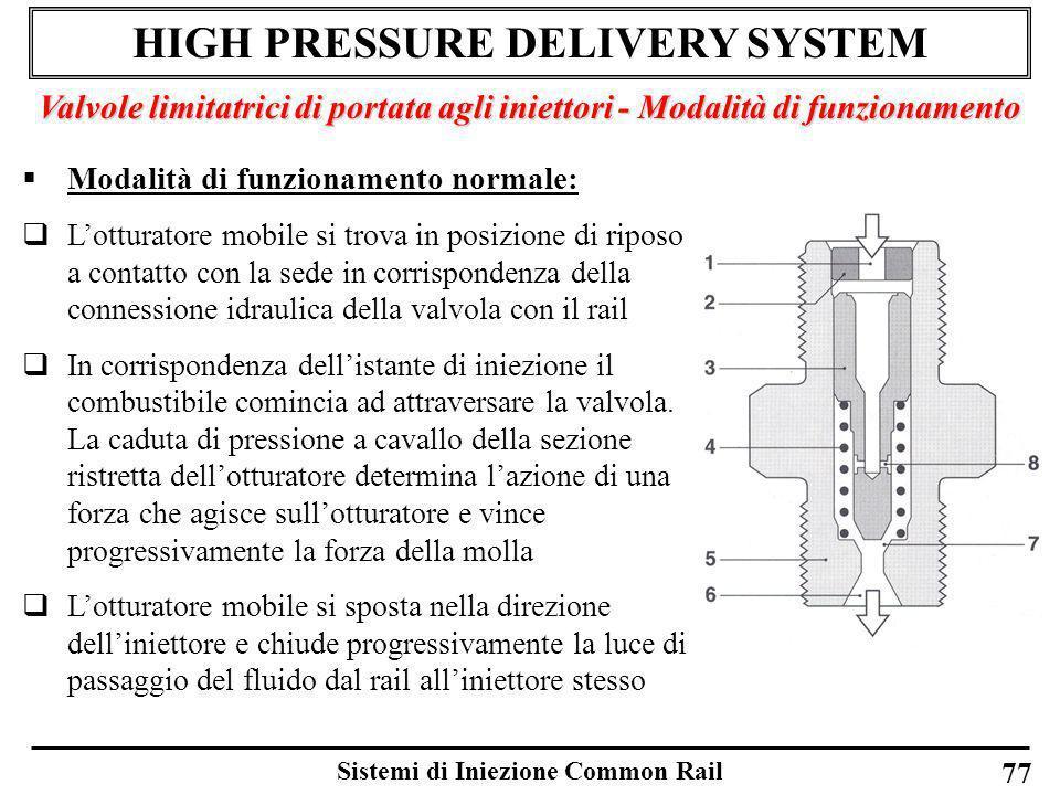 Sistemi di Iniezione Common Rail 77 HIGH PRESSURE DELIVERY SYSTEM Valvole limitatrici di portata agli iniettori - Modalità di funzionamento Modalità d