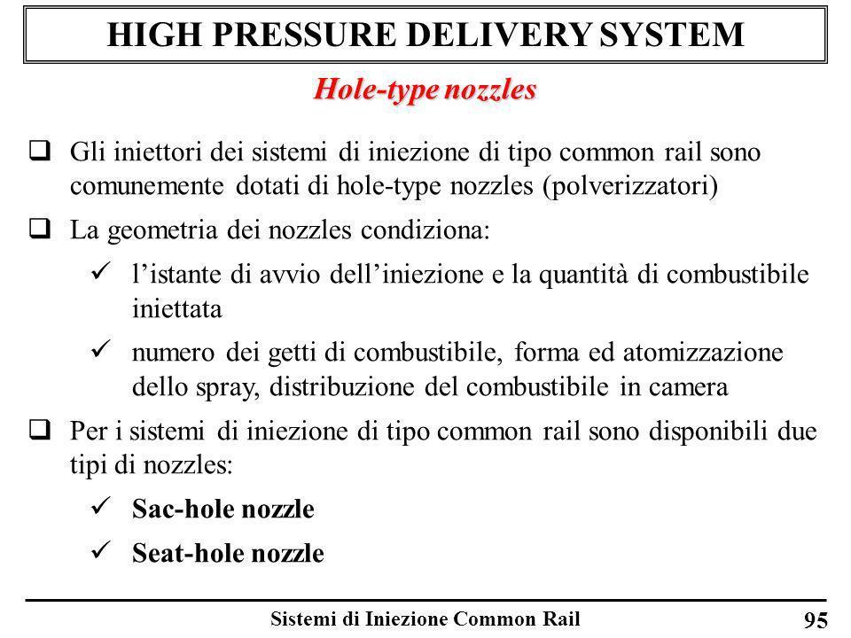 Sistemi di Iniezione Common Rail 95 HIGH PRESSURE DELIVERY SYSTEM Hole-type nozzles Gli iniettori dei sistemi di iniezione di tipo common rail sono co