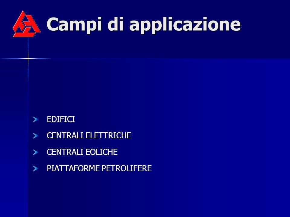 Campi di applicazione EDIFICI CENTRALI ELETTRICHE CENTRALI EOLICHE PIATTAFORME PETROLIFERE