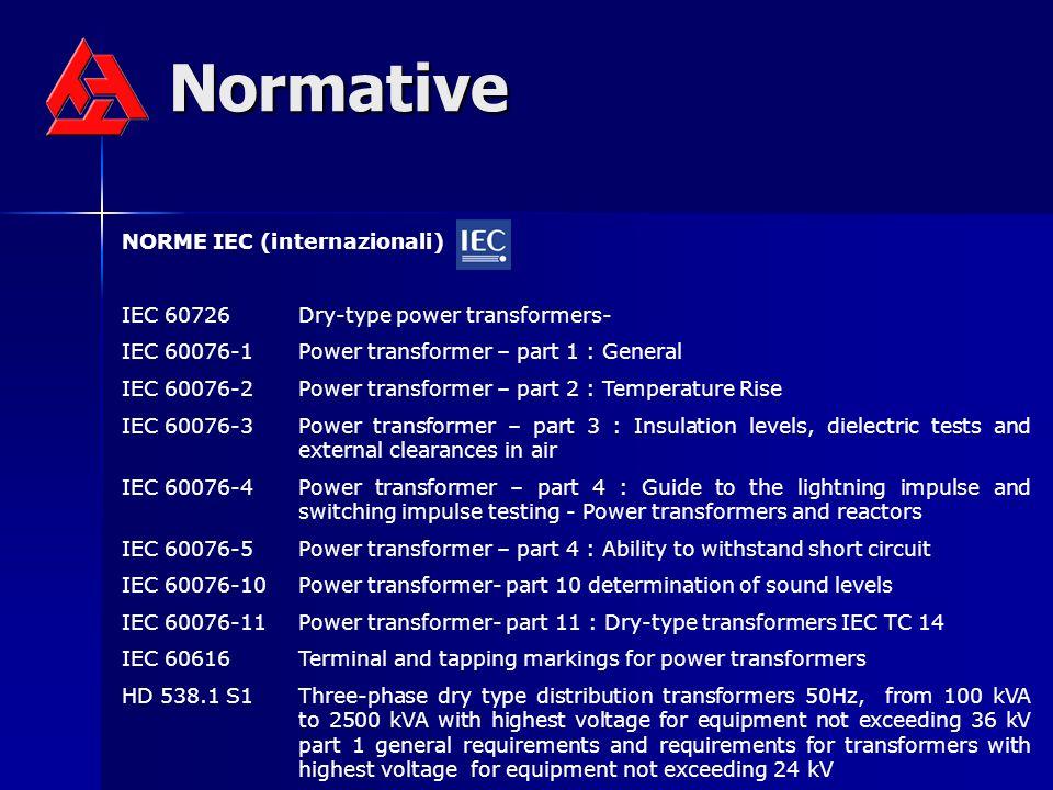 Normative NORME IEC (internazionali) IEC 60726Dry-type power transformers- IEC 60076-1Power transformer – part 1 : General IEC 60076-2Power transforme