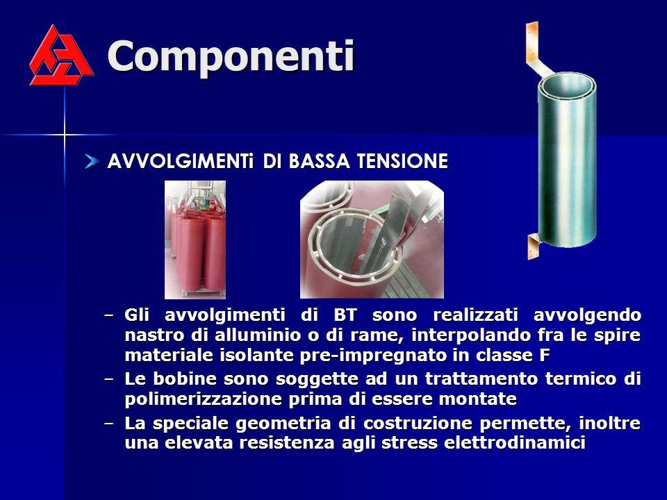 Componenti AVVOLGIMENTi DI BASSA TENSIONE AVVOLGIMENTi DI BASSA TENSIONE –Gli avvolgimenti di BT sono realizzati avvolgendo nastro di alluminio o di r