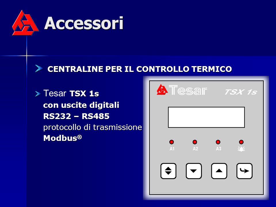 Accessori CENTRALINE PER IL CONTROLLO TERMICO CENTRALINE PER IL CONTROLLO TERMICO TSX 1s Tesar TSX 1s con uscite digitali RS232 – RS485 protocollo di trasmissione Modbus ®
