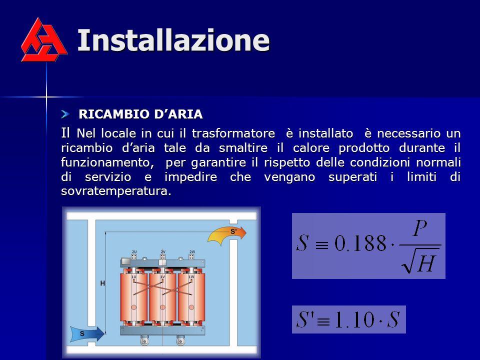 Installazione RICAMBIO DARIA RICAMBIO DARIA Il Nel locale in cui il trasformatore è installato è necessario un ricambio daria tale da smaltire il calo