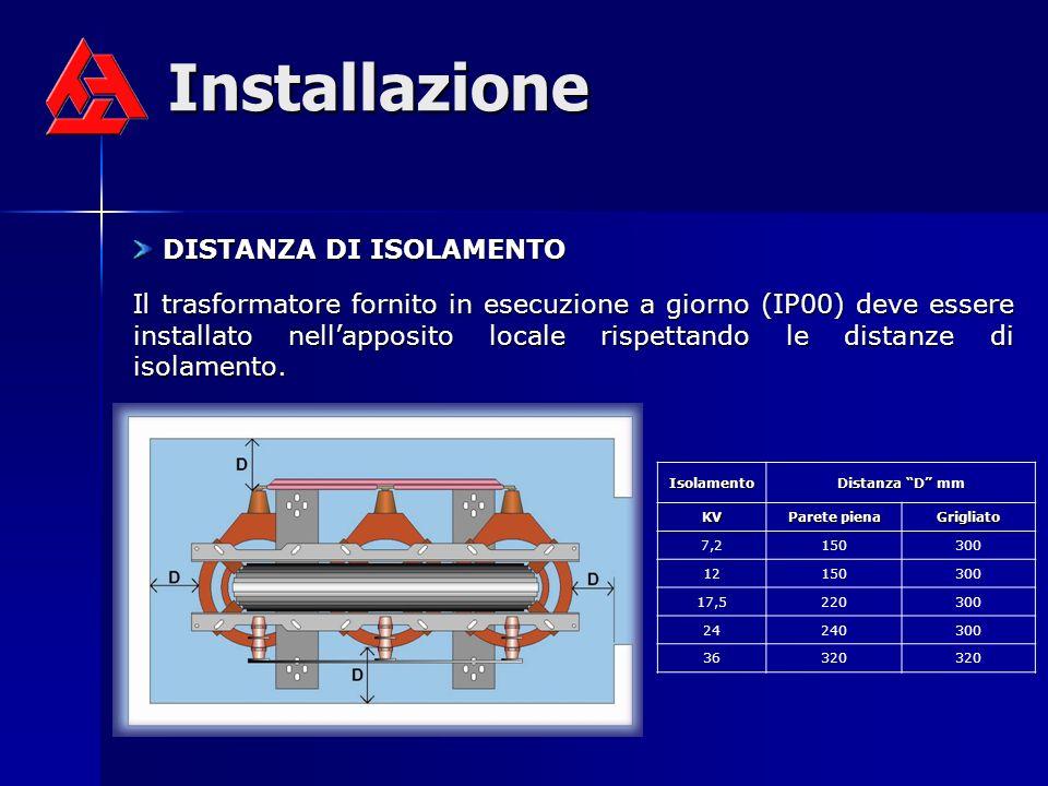 Installazione DISTANZA DI ISOLAMENTO DISTANZA DI ISOLAMENTO Il trasformatore fornito in esecuzione a giorno (IP00) deve essere installato nellapposito locale rispettando le distanze di isolamento.
