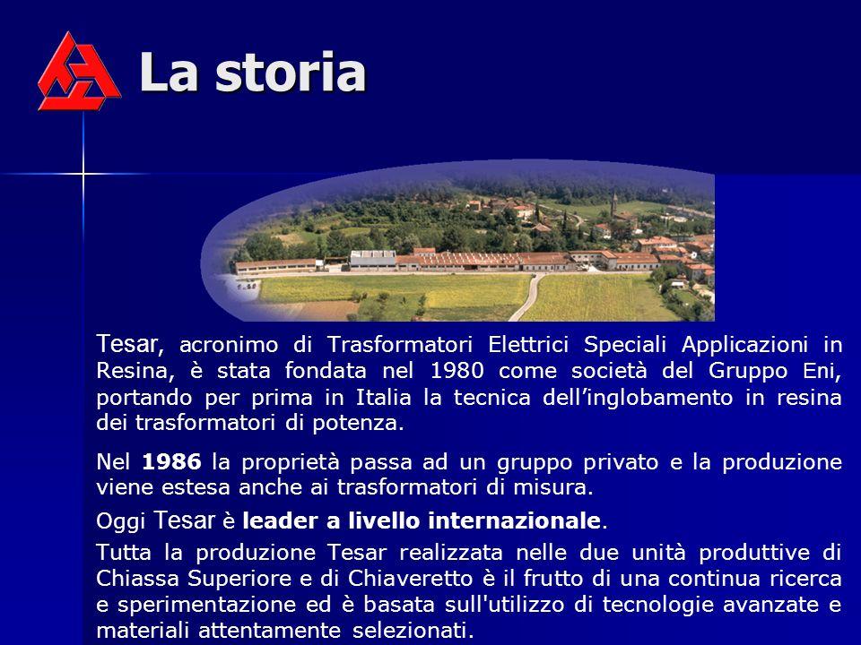 La storia Tesar, acronimo di Trasformatori Elettrici Speciali Applicazioni in Resina, è stata fondata nel 1980 come società del Gruppo Eni, portando p