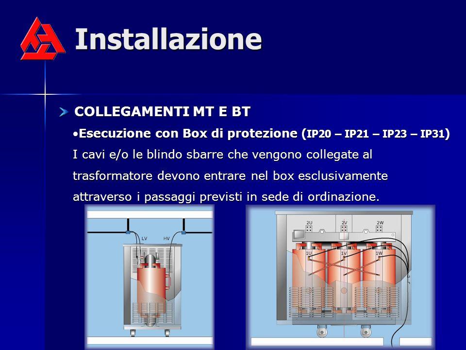Installazione COLLEGAMENTI MT E BT COLLEGAMENTI MT E BT Esecuzione con Box di protezione ( IP20 – IP21 – IP23 – IP31 ) I cavi e/o le blindo sbarre che