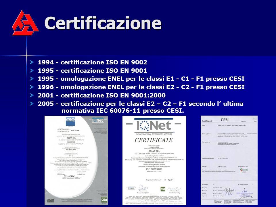 Certificazione 1994 - certificazione ISO EN 9002 1995 - certificazione ISO EN 9001 1995 - omologazione ENEL per le classi E1 - C1 - F1 presso CESI 1996 - omologazione ENEL per le classi E2 - C2 - F1 presso CESI 2001 - certificazione ISO EN 9001:2000 2005 - certificazione per le classi E2 – C2 – F1 secondo l ultima normativa IEC 60076-11 presso CESI.
