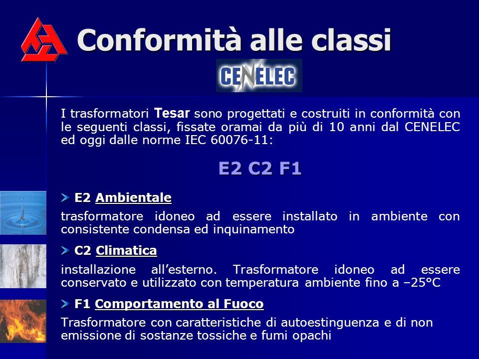 Conformità alle classi I trasformatori Tesar sono progettati e costruiti in conformità con le seguenti classi, fissate oramai da più di 10 anni dal CE