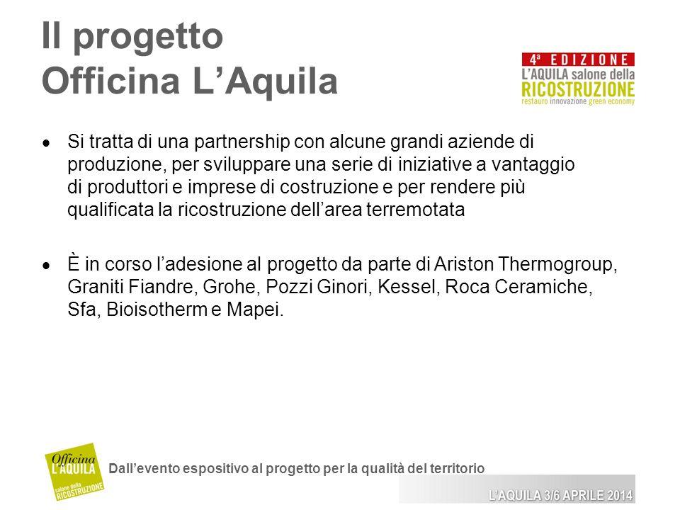 Il progetto Officina LAquila Dallevento espositivo al progetto per la qualità del territorio Si tratta di una partnership con alcune grandi aziende di