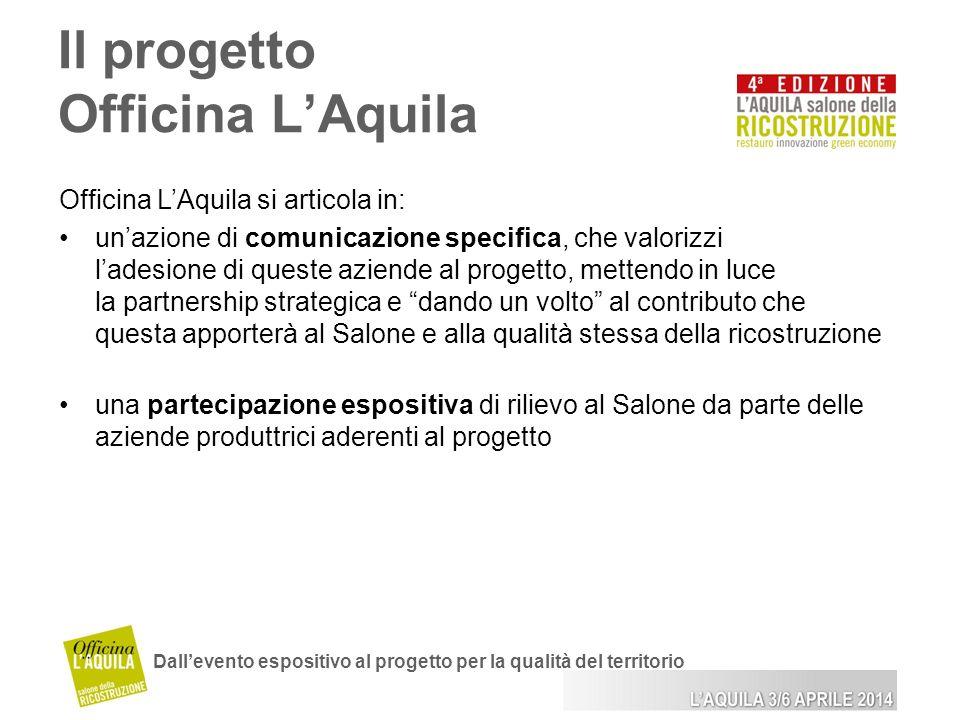 Il progetto Officina LAquila Dallevento espositivo al progetto per la qualità del territorio Officina LAquila si articola in: unazione di comunicazion