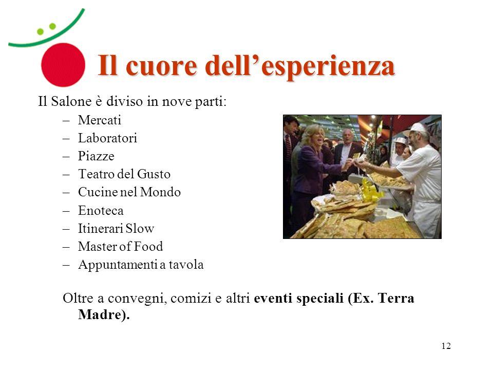 12 Il cuore dellesperienza Il Salone è diviso in nove parti: –Mercati –Laboratori –Piazze –Teatro del Gusto –Cucine nel Mondo –Enoteca –Itinerari Slow