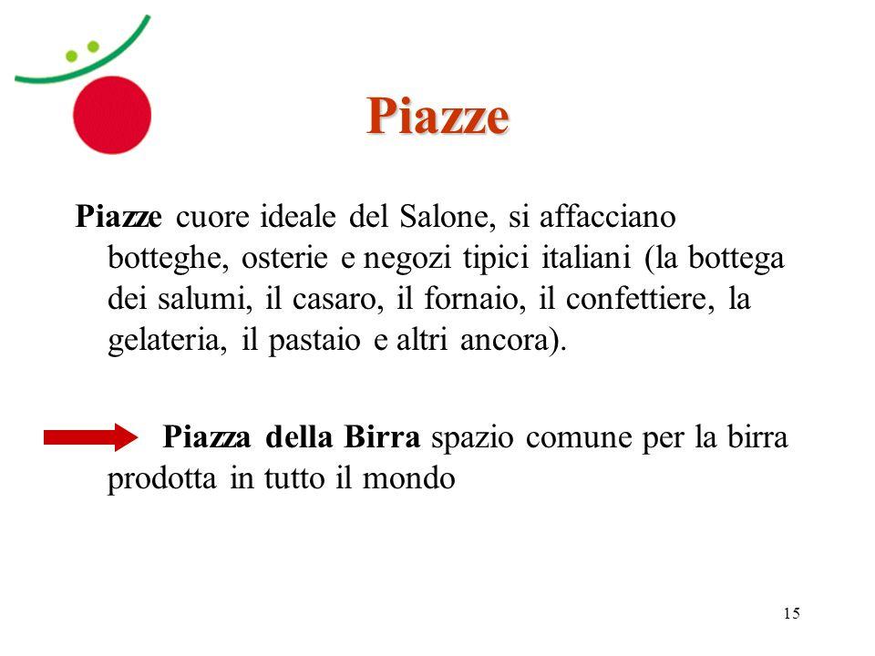15 Piazze Piazze cuore ideale del Salone, si affacciano botteghe, osterie e negozi tipici italiani (la bottega dei salumi, il casaro, il fornaio, il c