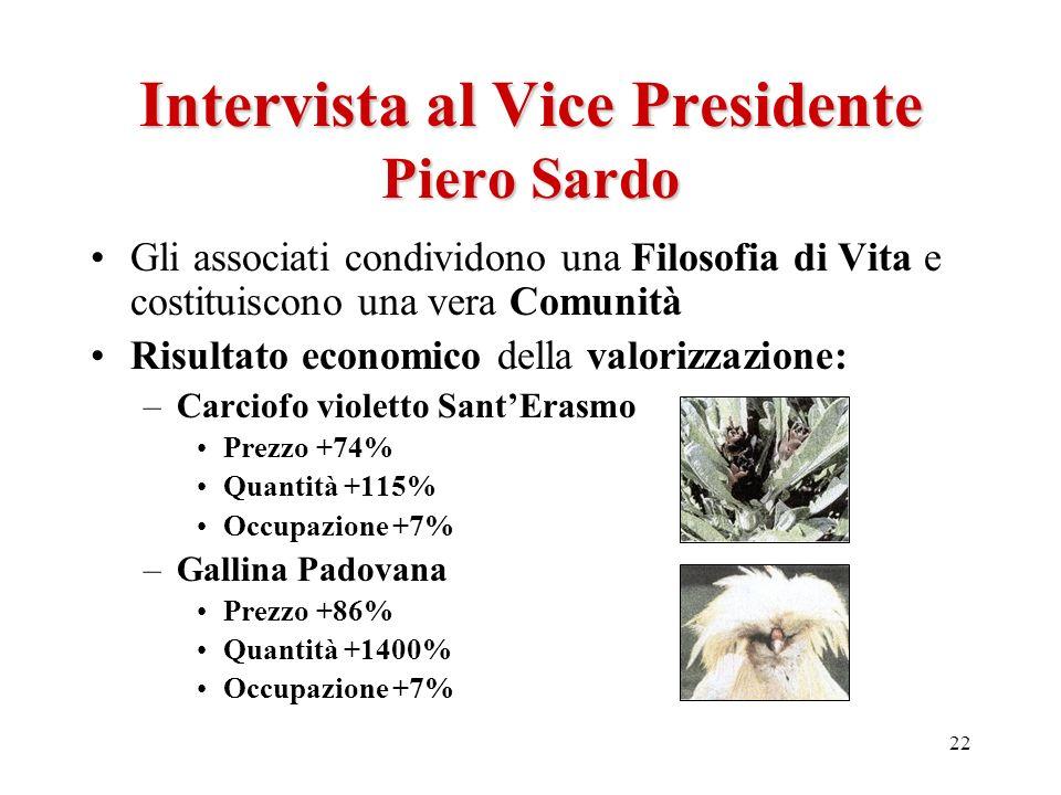 22 Intervista al Vice Presidente Piero Sardo Gli associati condividono una Filosofia di Vita e costituiscono una vera Comunità Risultato economico del
