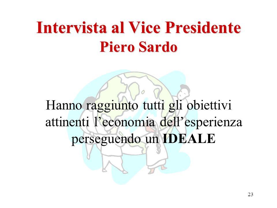 23 Intervista al Vice Presidente Piero Sardo Hanno raggiunto tutti gli obiettivi attinenti leconomia dellesperienza perseguendo un IDEALE