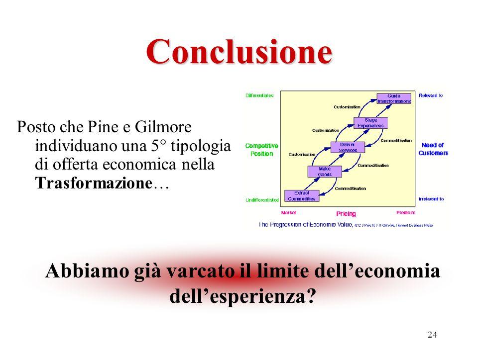 24 Conclusione Posto che Pine e Gilmore individuano una 5° tipologia di offerta economica nella Trasformazione… Abbiamo già varcato il limite dellecon
