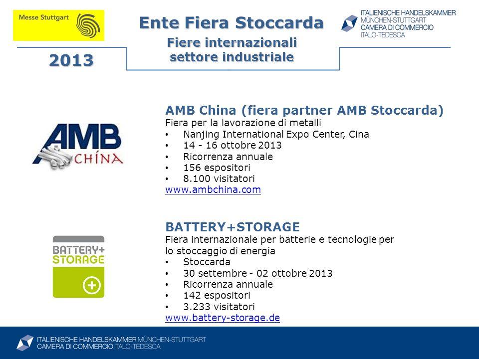 Ente Fiera Stoccarda Fiere internazionali settore industriale 2013 AMB China (fiera partner AMB Stoccarda) Fiera per la lavorazione di metalli Nanjing